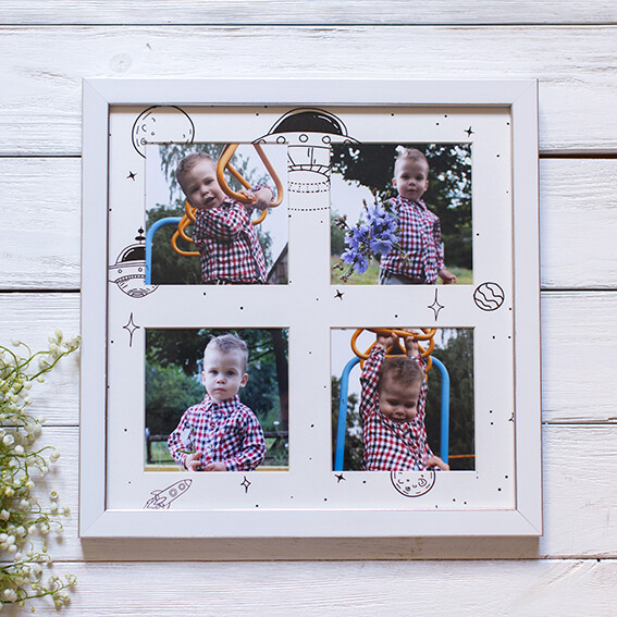 Панно из 4 снимков с тематическим паспарту в рамке(7)